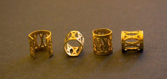 20 Gold Dreadlock Beads Dread New Hair 8mm Hole Clip Free Tibetan Silver Bead And Dreads