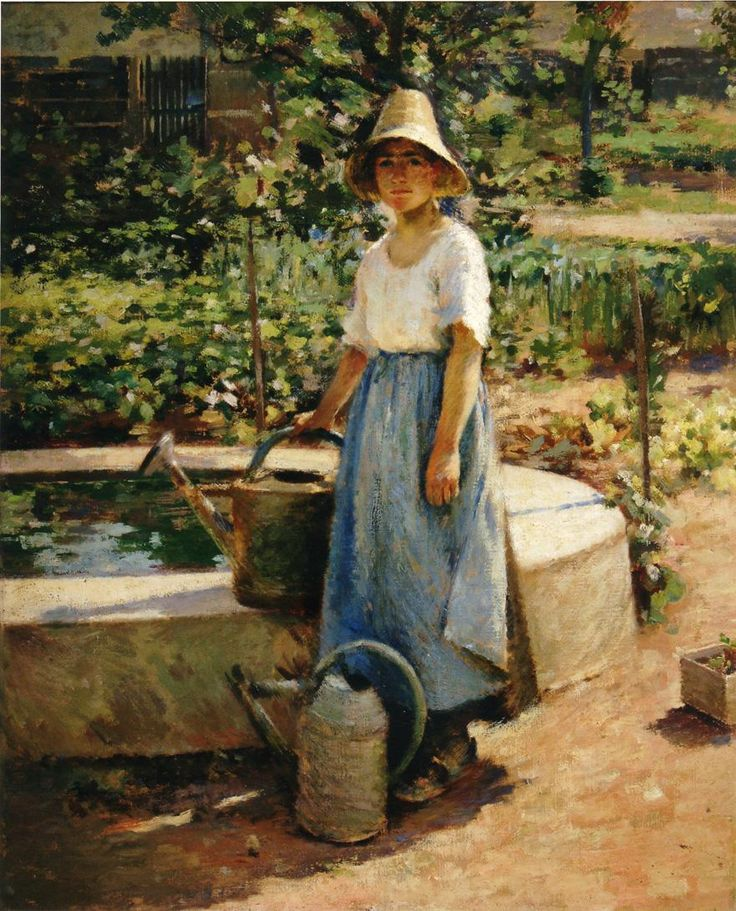 Theodore Robinson (American, 1852-1896), [Old Lyme Colony, Impressionism] At the Fountain, 1890.
