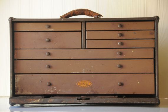 Vintage Machinist Cabinet Dunlap Tool Box Carpenters Watchmakers ...