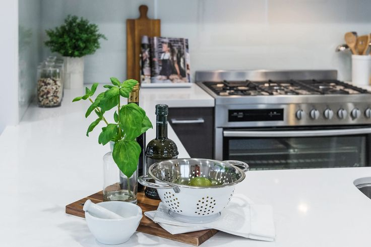 #Kitchen #inspired from Ausbuilds Bellfield #display #home. #decorate with functionality using #basil leaves, #limes and #oliveoil