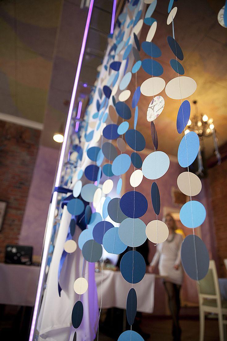 Гирлянда, бумажная гирлянда, синяя гирлянда, бумажная гирлянда кружки, свадьба, синий