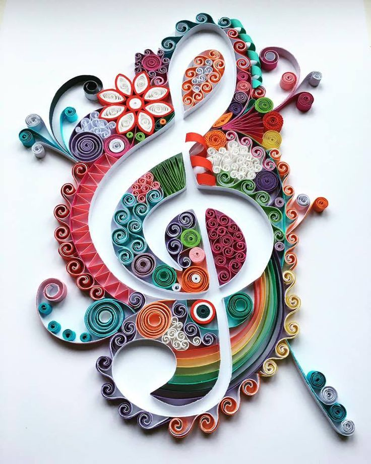 Make this quilted instead of quilled. Quilt around the treble clef, leaving it in relief.