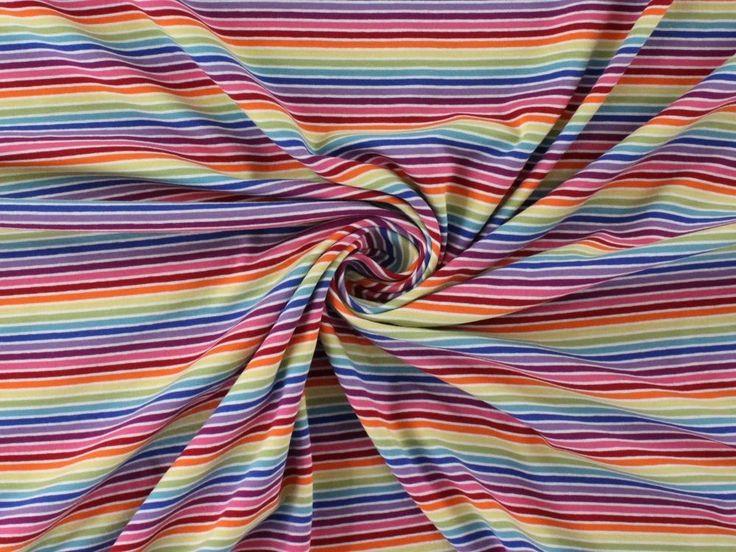 Baumwolljersey bunte Streifen, hell, KC3004-001,  bei stoffe-hemmers.de, Weicher und trendiger Baumwolljersey mit bunten Streifen, helle Farbtöne.