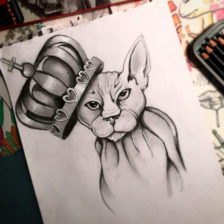 #sphynx #rad #cat #crown #art #tattooideas