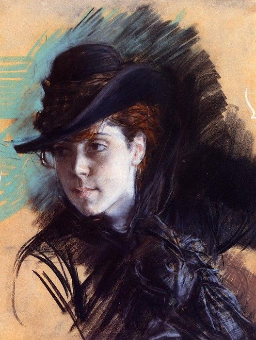 Girl in a Black Hat 1890. Джованни Больдини