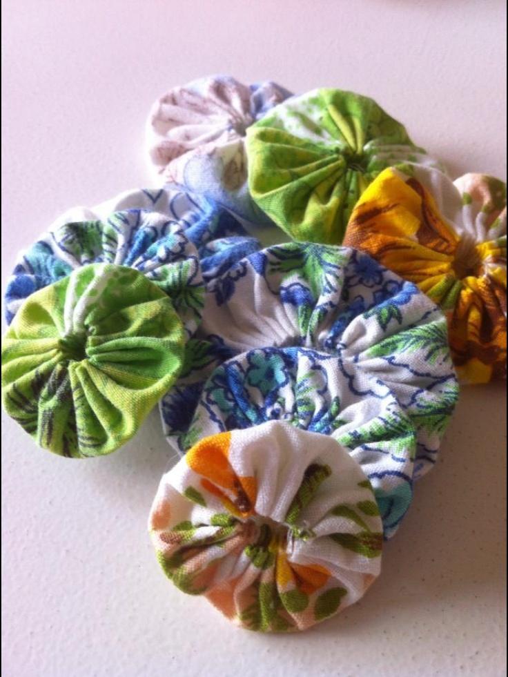 Vintage fabric yo yo's