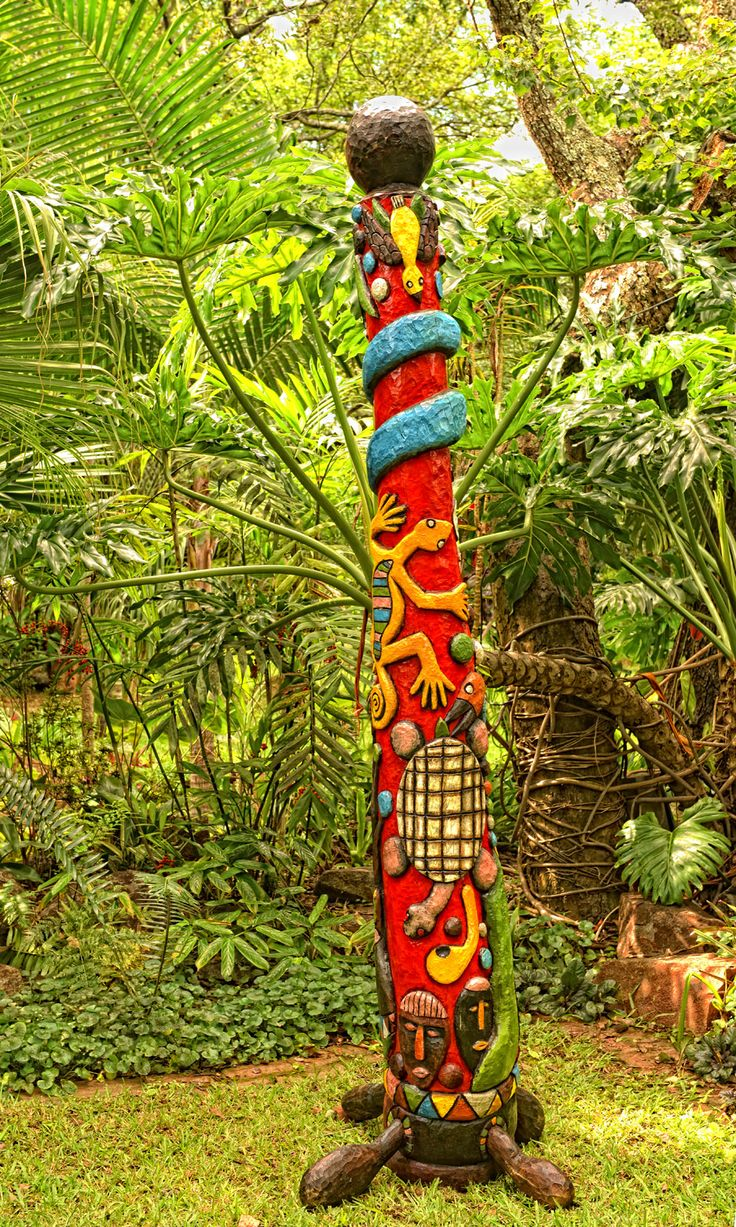 Totem pole for sale in the garden