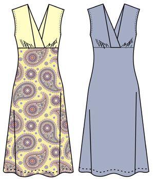 Выкройки платьев: трикотажное платье без рукавов