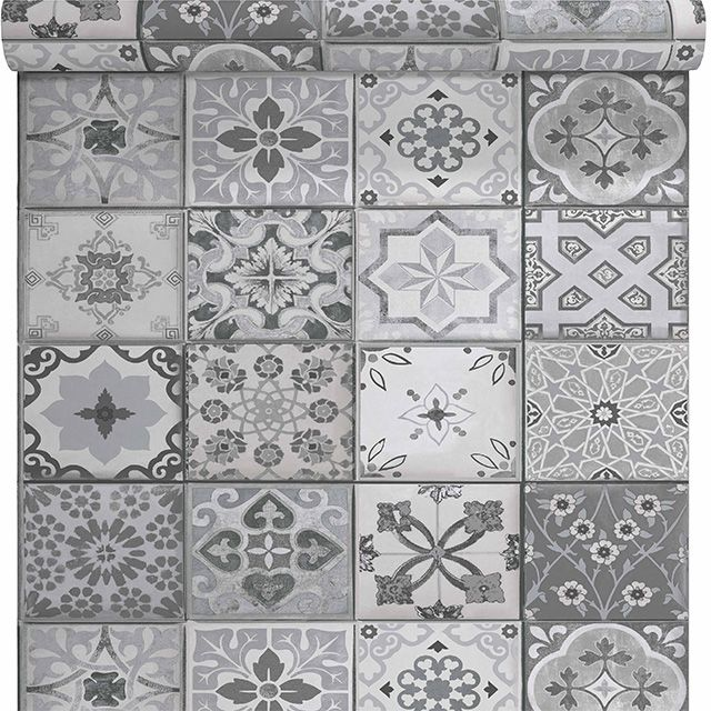 Papier peint vinyle sur intiss carreau de ciment gris mat for Enlever voile de ciment sur carrelage