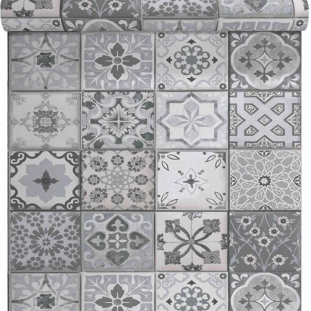 Papier peint vinyle sur intiss carreau de ciment gris mat - Papier a peindre castorama ...