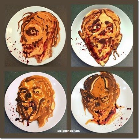 ZOMBIE PANCAKES!!! In his latest work of edible art, former math teacher and stay-at-home dad Nathan Shields of Saipancakes (see previously) has created a artful series of zombie pancake sculptures for his kids. Nath...