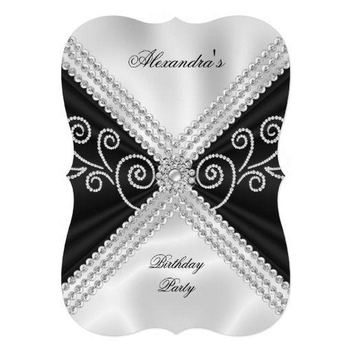 Elegant Black White Silk Jewel Birthday Party Invitation In 2019