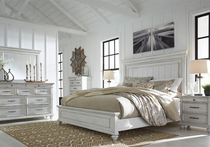 Kanwyn Whitewash Queen Panel Bedroom Set With Images King Bedroom Sets Bedroom Set