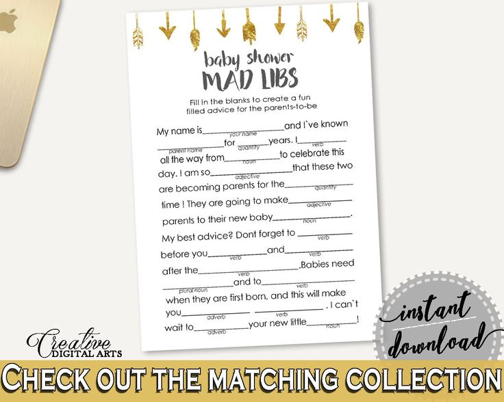 Mad Libs Baby Shower Mad Libs Gold Arrows Baby Shower Mad Libs Baby Shower Gold Arrows Mad Libs Gold White - I60OO - Digital Product #babyshowergames #babyshowerdecorations