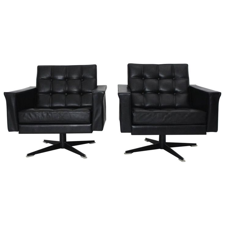 Black Leather Pair of Armchairs by Johannes Spalt, Vienna, circa 1960 | From a unique collection of antique and modern club chairs at https://www.1stdibs.com/furniture/seating/club-chairs/