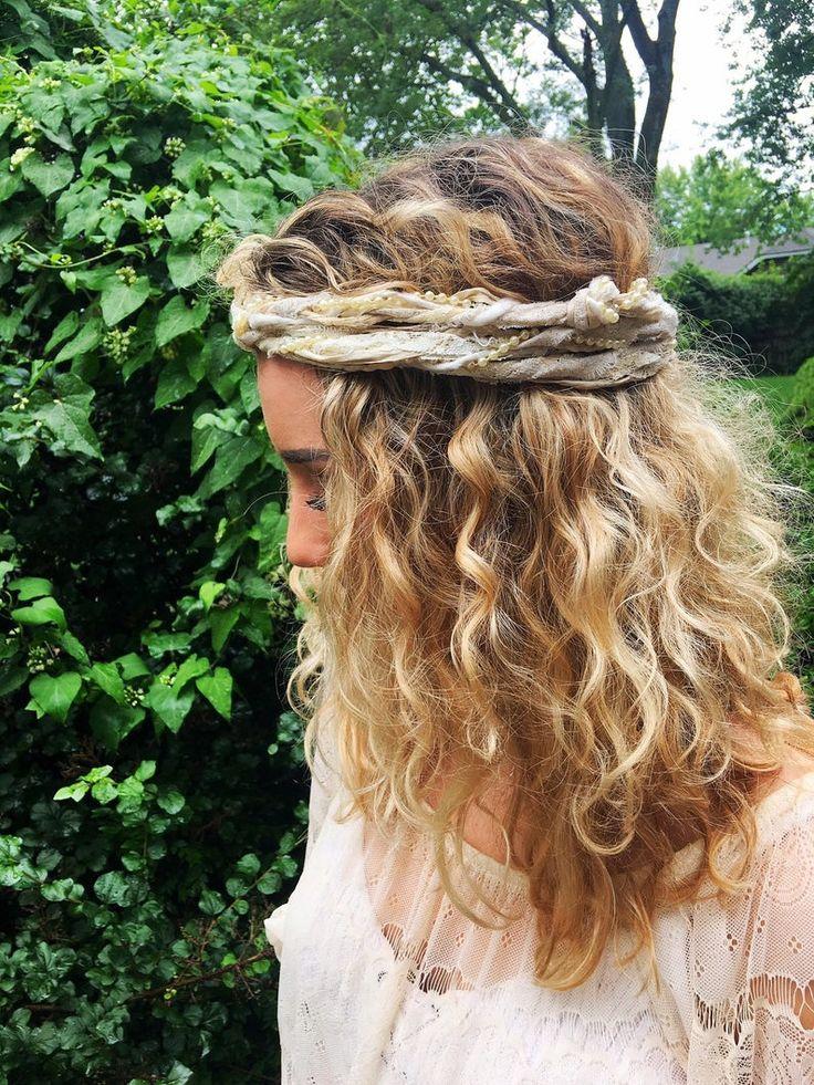 NEW Boho Head Scarf   Gypsy Head Wrap   Hippie Headband   Bohemian Wedding   Ivory Lace & Silk Head Scarf   Boho Head Wrap   Winter Wedding