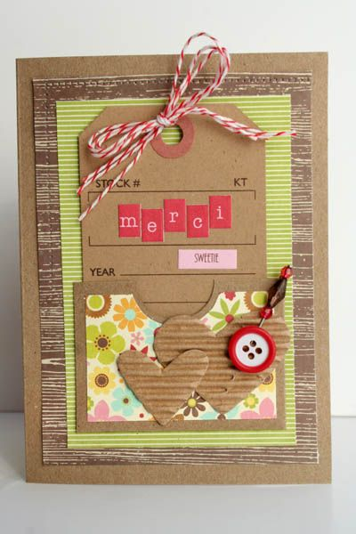 Merci Card by Carole Maurin using Jillibean Soup's Homemade 6 Bean Soup paper, Apple Cheddar Soup mini paper pad, Hearty Barley Soup stickers, kraft shipping tags, sugar picks, orchard cool beans, corrugated hearts, and baker's twine (via the Jillibean Soup).