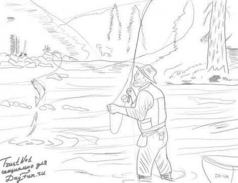 рисовать рыбалку карандашом