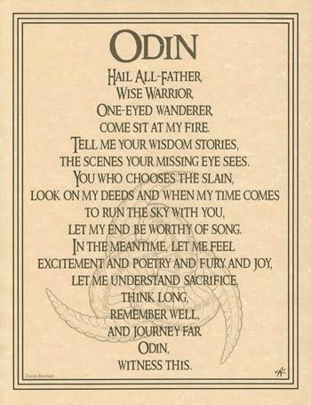 The Odin Poster celebrates Odin's wisdom as well as his love of joy and poetry, and his sacrifice, with the words of a prayer written by Travis Bowman and the beautiful illustration by Eliot Alexander