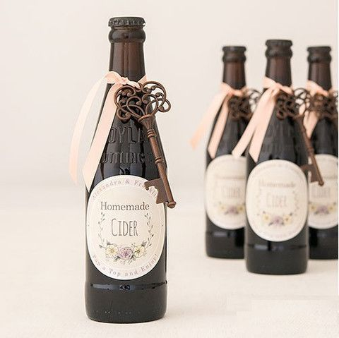 Vintage Key Bottle Opener Wedding Favor with Personalized Label Qty 24