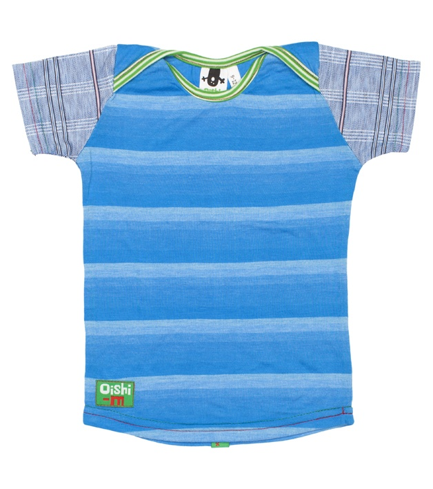 Oishi-m Surge'n S/S T-shirt, blue striped T with check sleeves (http://www.oishi-m.com/tops/surgen-s-s-t-shirt/)