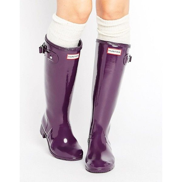 Hunter Original Adjustable Tall Glossy Wellington Boot ($120) ❤ liked on Polyvore featuring shoes, boots, purple, purple rubber boots, knee high rubber boots, rain boots, rounded toe boots and purple rain boots