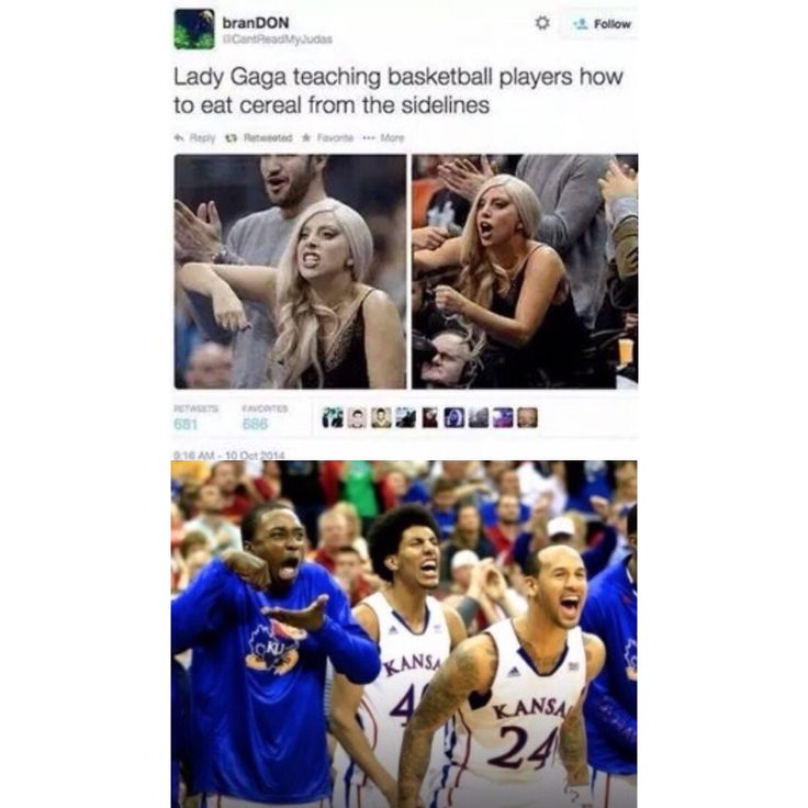 Breaking News: Lady Gaga teaches basketball players how to eat invisible cereal