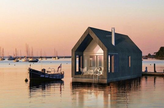 """Two-story houseboat by Latvian architecture firm NRJA which stands for """"No Rules, Just Architecture"""""""