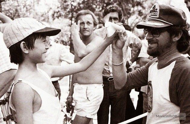 Indiana Jones and the Temple of Doom behind the scenes photo of Steven Spielberg & Jonathan Ke Quan