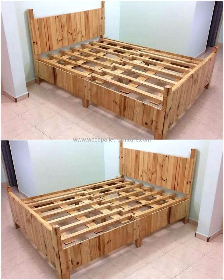 288 best pallet beds images on pinterest for Pallet king bed frame