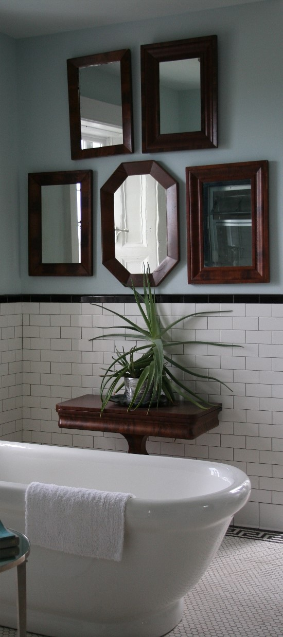 Subway Tiled Walls With Black Tile Molding. Small Octagon Tile Floor With  Greek Key Border