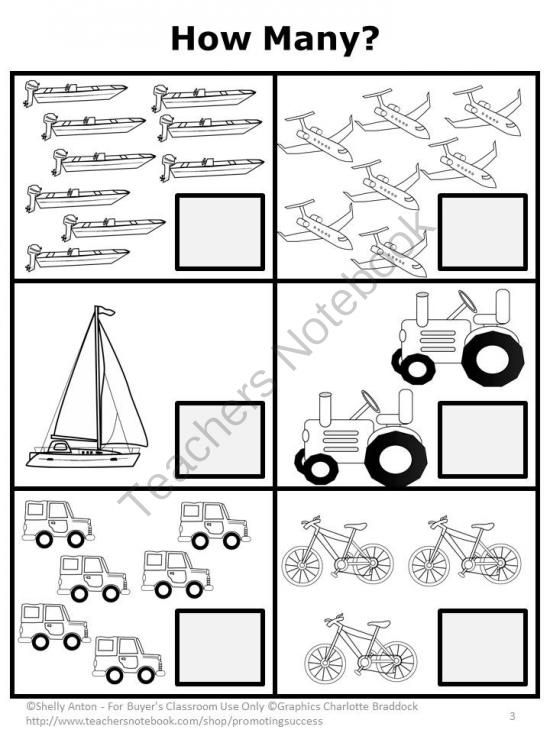 Transportation: In this math packet, your students will work on counting, addition, subtraction, greater than/less than, time, money, sequencing, patterns, place value and skip counting. Answer keys are also included. These are simple worksheets with minimal distractions on each page, which works well for preschool, kindergarten, and students with special needs. In addition, the transportation theme goes along nicely with many children's literature books, including Dr. Seuss. (Go, Dog. Go!)
