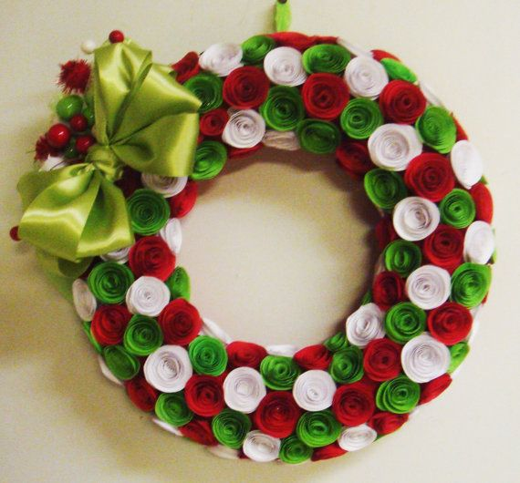 Christmas Wreath Assorted  rolled Paper by SweetPeaPaperFlowers, $65.00