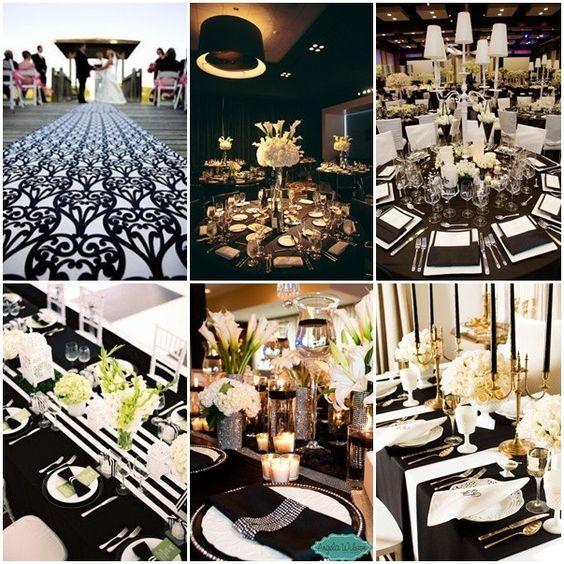 Decoraciones para bodas en blanco y negro