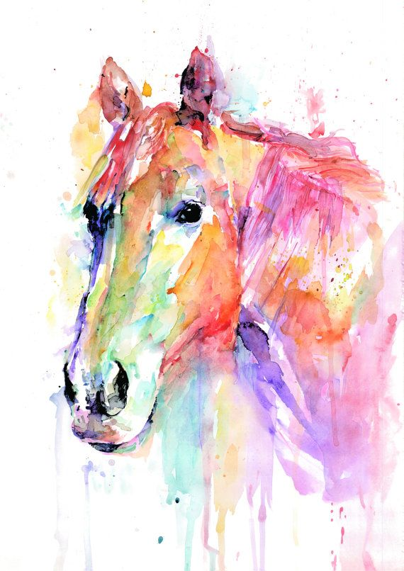 Original Horse Watercolor Art Print, Watercolor Print, Poster, Giclee Print [ANI 2-1] by paintersville. Explore more products on http://paintersville.etsy.com