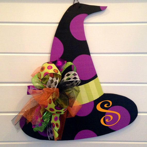 Monogrammed Witch Hat Door Hanger by KnockKnockRVA on Etsy