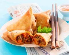 Samoussas au poulet épicé, carotte et lait de coco (facile, rapide) - Une recette CuisineAZ