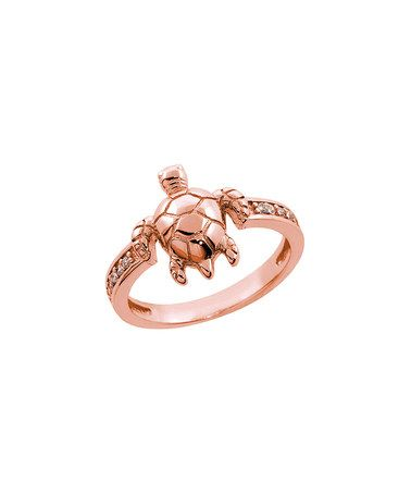 Look what I found on #zulily! Cubic Zirconia & Rose Gold Turtle Ring #zulilyfinds