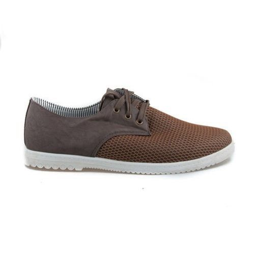 MENS LACE UP SUMMER CASUAL BREATHABLE SHOES BROWN  SIZE 7-11.5 UK