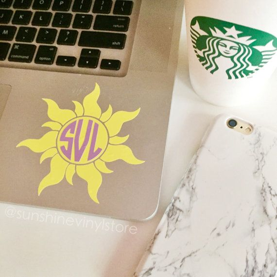 Best. Day. Ever. This tangled inspired monogram is perfect on your laptop, ipad or car! It measures 4 by 4  PLEASE LEAVE MONOGRAM IN THE NOTE TO