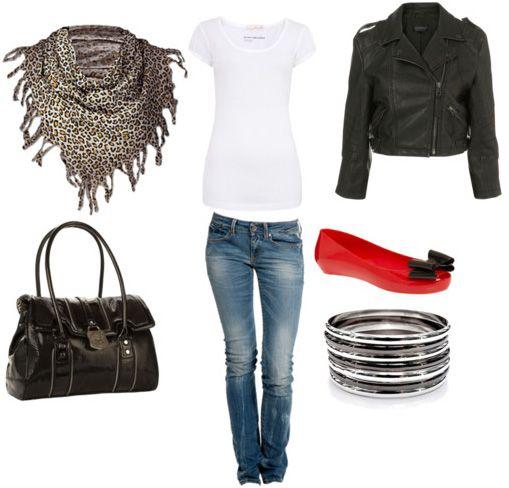 Leopard+skinny jeans+ black plus a slash of red.  Love it.