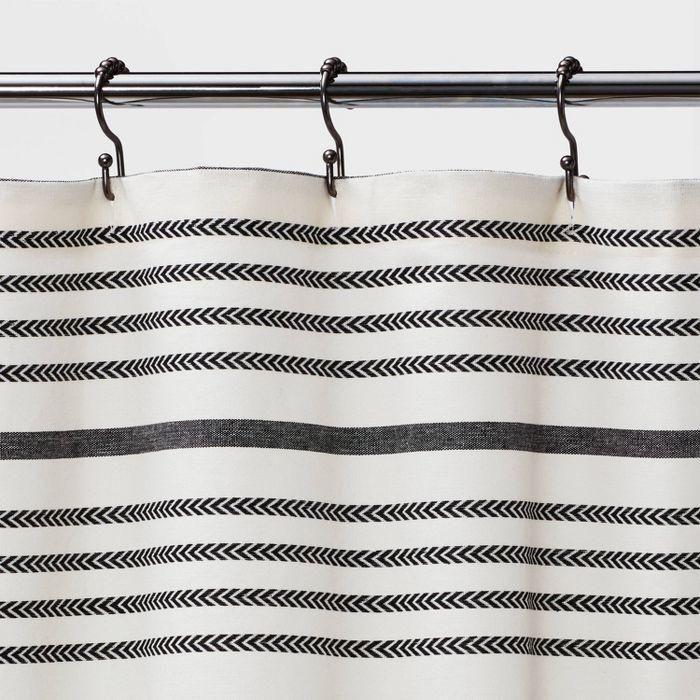 Striped Shower Curtain Black White Threshold In 2021 Striped Shower Curtains Black Curtains Target Shower Curtains Shower curtain black and white