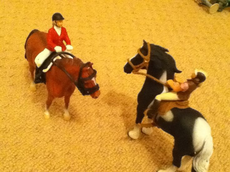 (Both CollectA horses) Lauren on Jet and Georgia on Mac just chatting