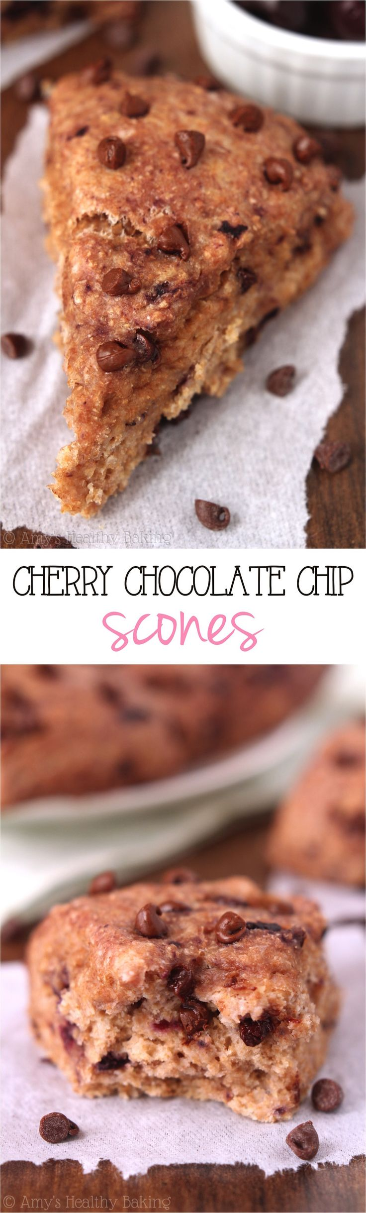 Cherry Chocolate Chip Scones -- with tons of rich melty chocolate & made healthier with yogurt instead of heavy cream!