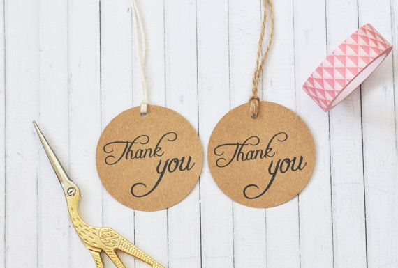 Thank You Circle Gift Tag Wedding Favor Tag Round Kraft Gift
