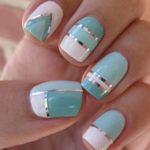 Fun nail designs for kids and adults. Use metallic detailing to make block colors.