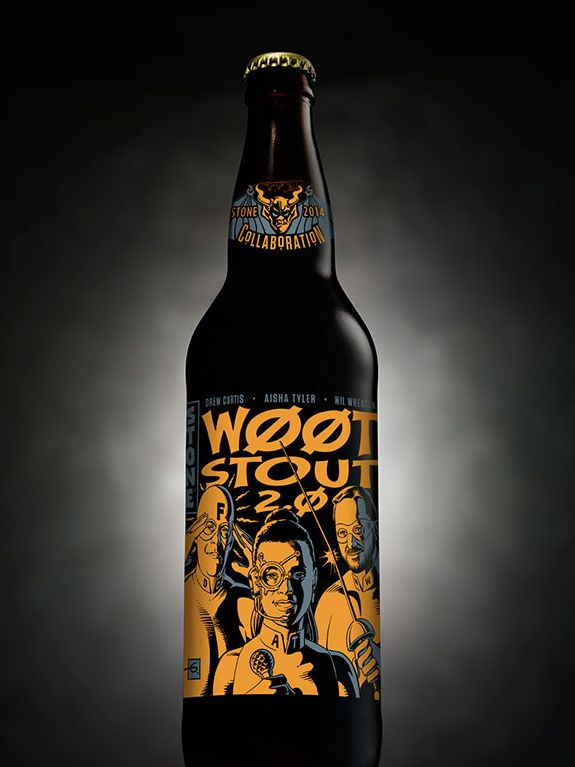 Stone Brewing Co's w00tstout 2.0. w00tstout 2.0 is an imperial stout brewed with wheat, rye, pecans and stone-ground chocolate partially aged in bourbon barrels. 13% ABV.