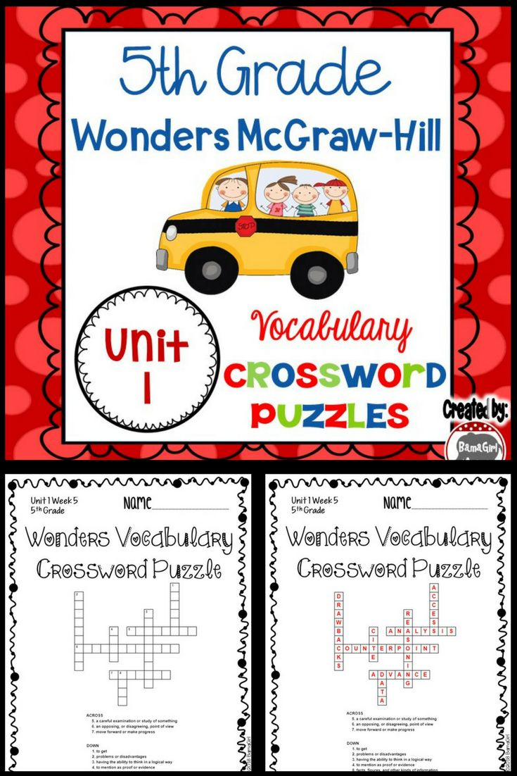 These crossword puzzles are based on the 5th grade Wonders McGraw-Hill reading series. This is a fun handout that is great for classwork, homework and/or to add to student's interactive reading notebooks so they can master the definitions of their weekly words. This set includes vocabulary crossword puzzles for the entire unit 1 (weeks 1-5).