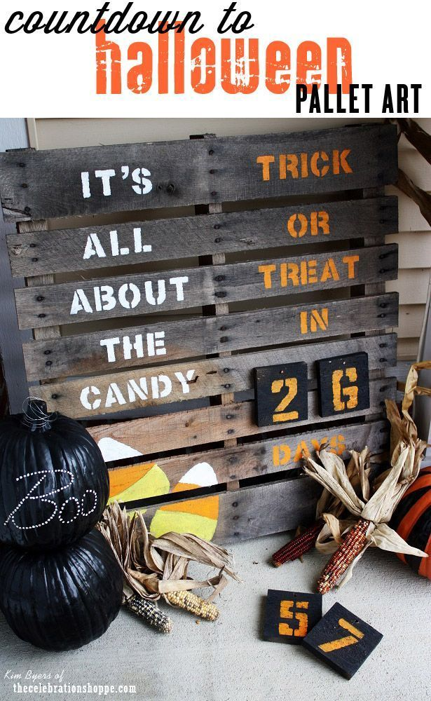 Countdown to Halloween Pallet Sign for Your Porch ~ It's All About The Candy! | http://TheCelebrationShoppe.com #Halloween #pallet