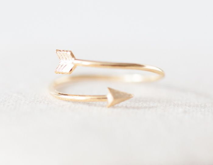 Tiny arrow adjustable ring in gold ,adjustable ring,everyday jewelry, gift ring
